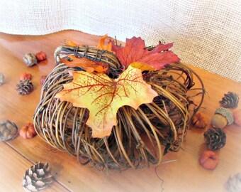 Twig Pumpkin Centerpiece, Grapevine Pumpkin Decor, Pumpkin Wedding Decoration, Pumpkin Birthday Party, Autumn Fall Wedding Centerpiece Decor