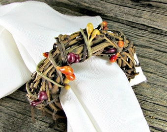 Thanksgiving Napkin Rings, Pip Berry Napkin Ring, Autumn Fall Napkin Ring, Rustic Grapevine Napkin Ring, Thanksgiving Table Decor Decoration