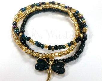 Beaded Bracelet Set, Dragonfly Beaded Bracelet, Seed Beads, Women's Bracelet, Handmade, Women's Bracelet, Purple Bracelet, Women's Bracelet