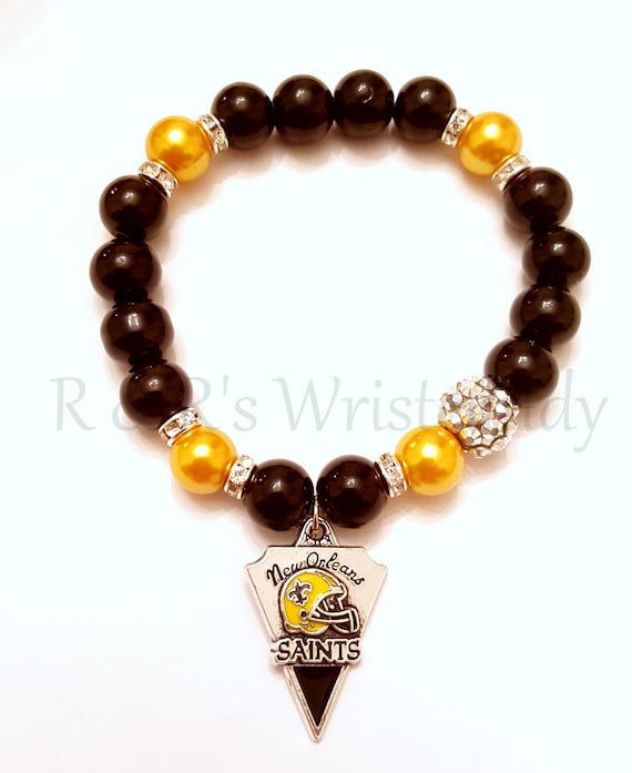 new orleans saints beaded bracelet nfl by randrswristcandy
