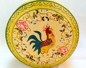 Vintage Handpainted Wooden Rooster Coasters With Box 1960's