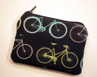 Bikes coin purse, Small zipper pouch, Card wallet, Padded, Gift idea,Printed wallet