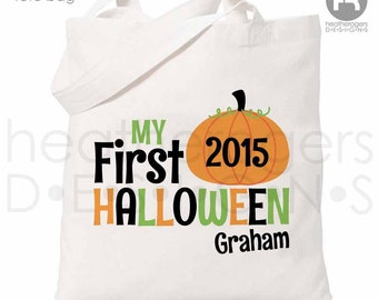 Halloween Trick or Treat Bag - Personalized First Halloween Pumpkin Bag - 1st Halloween Trick or Treat Bag