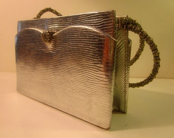 Vintage Silver Lame Faux Snake Skin Evening Purse