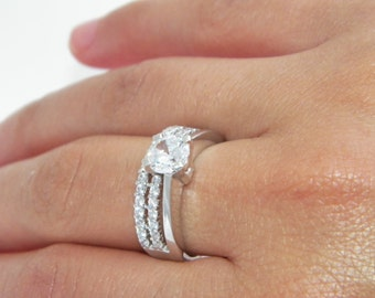 925 Sterling Silver Engagement & Band Wedding Set CZ Cubic Zirconium Ring Pave