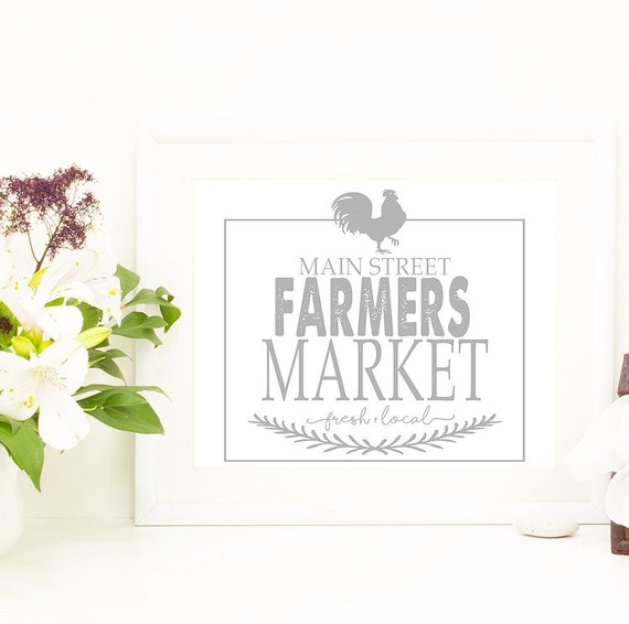 Farmers market printable wall art prints 8x10 kitchen for Decor market reviews