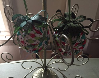"""3"""" Quilted Ball Ornaments - Modern Christmas Argyle pattern"""