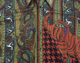 Vintage Augie Long Sleeve Button Up Shirt.LARGE.Disco.Big collar.Paisleys and elephants.Big collar.
