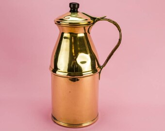Vintage Rustic Brass JUG Milk Art Deco Serving Large 1920s English LS