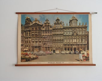 Vintage Pull Down School Chart Brussels Belgium, Poster, Print, Topography