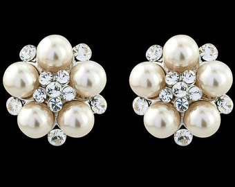 "Bridal Earrings Wedding Earrings Wedding Jewelry Bridal Jewelry Brides ""White Pearl"" Earrings Crystal  Earrings Style-435"