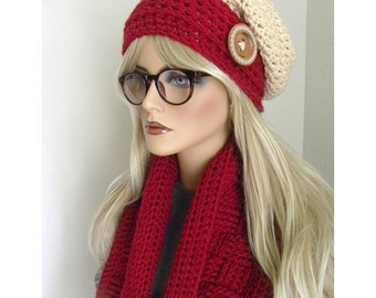 Red and White Hat & Scarf Set, Red Infinity Scarf, Red and White Slouch Hat, Red Crocheted Hat and Infinity scarf Set,Ready To Ship