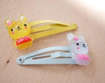 2x Bunny in polka dress hair clips