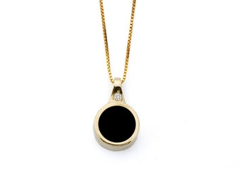 Gold plated black onix necklace, Round pendant, Black stone necklace, round black stone necklace, small round black pendant