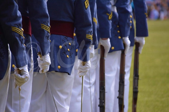 Cadets at The Citadel in Charleston SC lined up at parade.