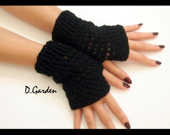 Hand Knitted Stylish Acrylic black fingerless arm warmers gloves