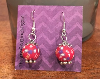 Red&Purple Flowers Clay Bead Earrings