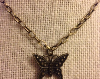 "14"" Red Butterfly Necklace"