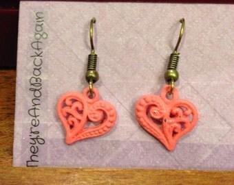 Pink&Bronze Handpainted Filigree Heart Earrings