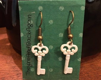 White Key Earrings