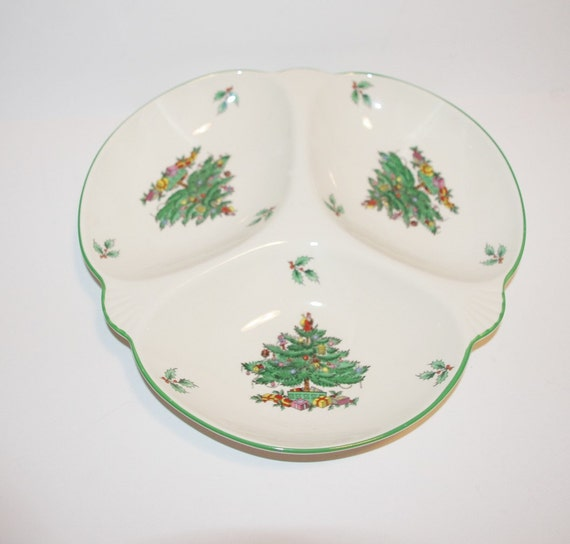 Spode Christmas Tree Candle Holder: Spode Christmas Tree 3 Section Serving Dish T467