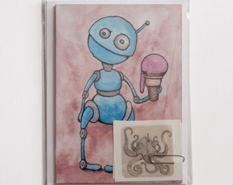 Robot Stationery Set, Cute Robots, Notecards and Stickers