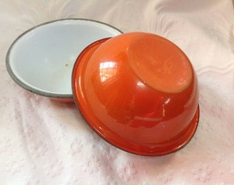 Vintage Enamel Ware Bowls Two Burnt Orange Enamel Ware Bowls