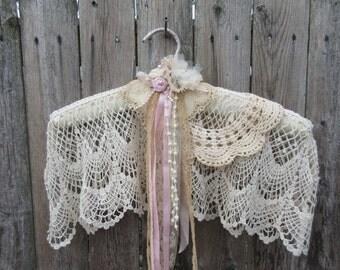 Wedding dress  hanger , lace hanger ,  victorian style padded hanger , wedding  accessories,  Vintage Hanger