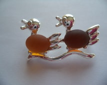 Vintage Unsigned Small Silvertone Cute Jelly Belly Ducks Brooch/Pin