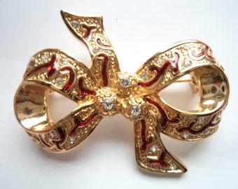 Vintage Unsigned Goldtone/Red/Clear Rhinestone Bow  Brooch/Pin