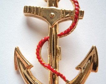 Vintage Unsigned Goldtone/Red Anchor Brooch/Pin