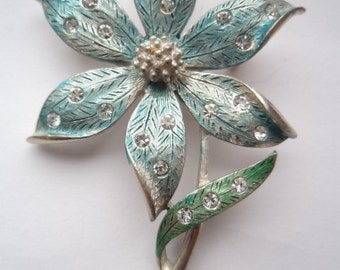 Vintage Signed JJ Silver pewter/Clear Rhinestone Pale Blue Flower Brooch/Pin