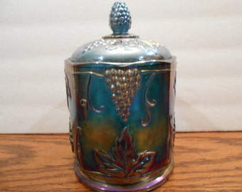 Indiana Carnival Glass Blue Harvest Canister Grape Design