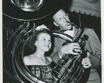 Lawrence Welk with tuba vintage music photo
