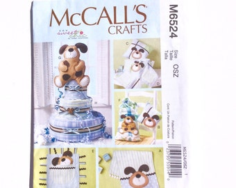 McCall's M6524, Diaper Cake Pattern, Burp Cloth, Pillow, Blanket, Toy, Dog Decoration Pattern, Baby Shower Cake, Baby Gifts, Uncut Pattern