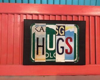 License Plate Sign License Plate letter Art Picture Home Deco Hugs License Plate Letter Sign License Plate Art