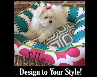 X-Small Dog Bed Colorful Pink Turquoise Green Girly Design | Chartreuse, Ash, Candy | Design Your Own Dog Bed | High Quality & Washable