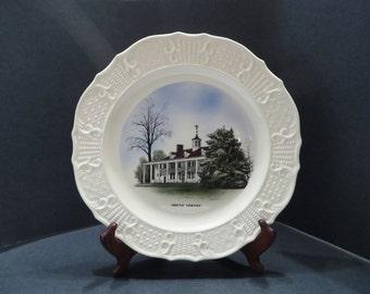 Hand Colored Mount Vernon Collectors Plate, Vintage 1950s Delano Studios