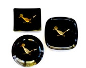 Couroc Roadrunner Servingware, Couroc Roadrunner Plates, Set of 3 Couroc Plates, Durable, Black and Gold