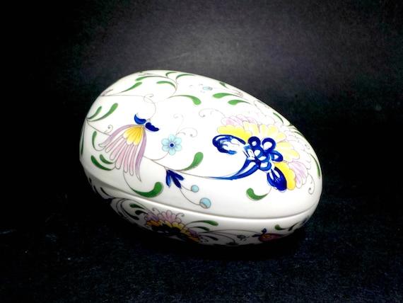 Porcelain Egg by Coalport of England, White Blue Tole Florals, Pageant by Coal Port, Porcelain Easter Egg, Collectible Porcelain Egg Box