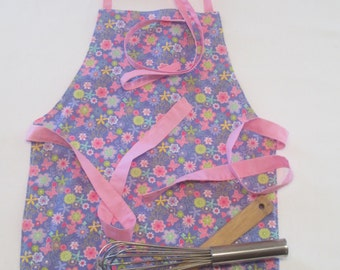 Toddler Apron | Girl's Apron | School Apron | Kitchen Helper Apron | Flowers Hearts Butterflies | Reversible Apron | Child Apron