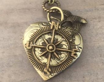 Heart Compass Locket Necklace Bird Valentine Gift For Her