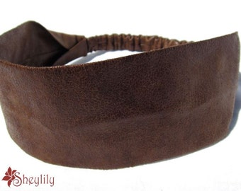 Faux Leather Headband in Brown for Ladies or Women by Sheylily