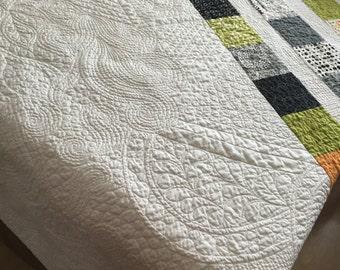 Zen Chic Modern quilt, handmade lap quilt