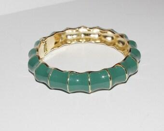 Hinged Bangle Bracelet Green Enamel - S1308