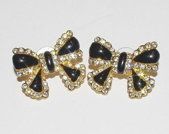 Joan Rivers Pierced Earrings - Black with Crystals - S2336