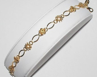 Nolan Miller Flower Bracelet - Gold Tone with Crystals - 8 Inches - S1294