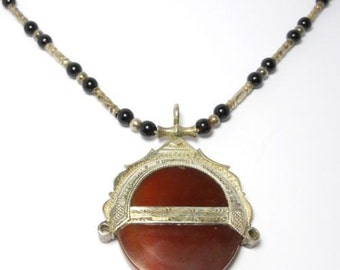 Ethnic Tribal Garnet Carnelian & Silver Pendant