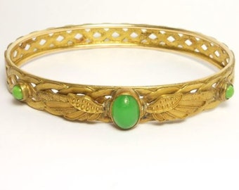 Victorian Brass Ornate Winged Egyptian Revival Bangle