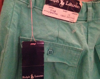 Ralph Lauren Vintage NWT Green Pleated Cuffed Pants